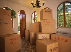 moving boxes stacked in a home