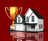 Graphic of house and Gold Cup trophy award