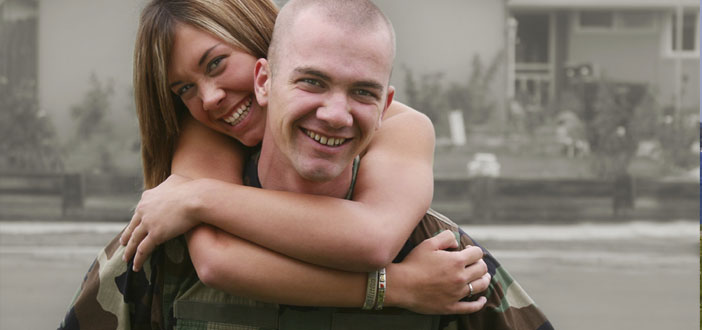 Young Military couple smiling